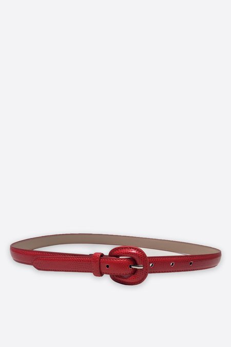 Assembly New York Leather Snakeskin Belt - Red