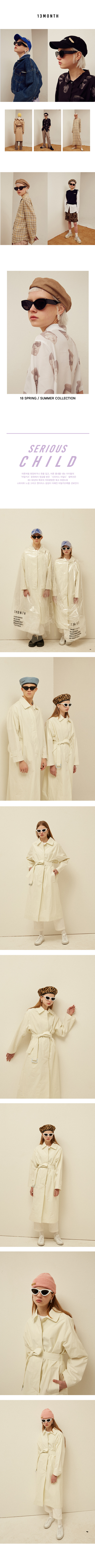 Unisex 13month SINGLE LONG TRENCH COAT - IVORY