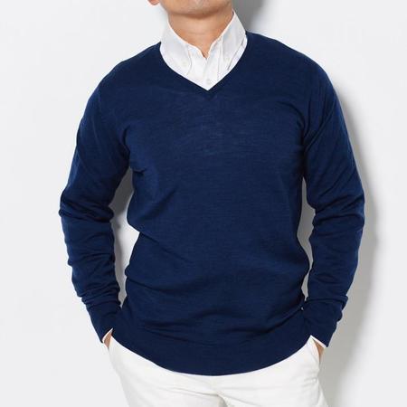 John Smedley V Neck Sweater - Indigo
