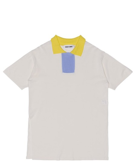 ROCKET X LUNCH CONTRAST COLLAR KNIT T - WHITE