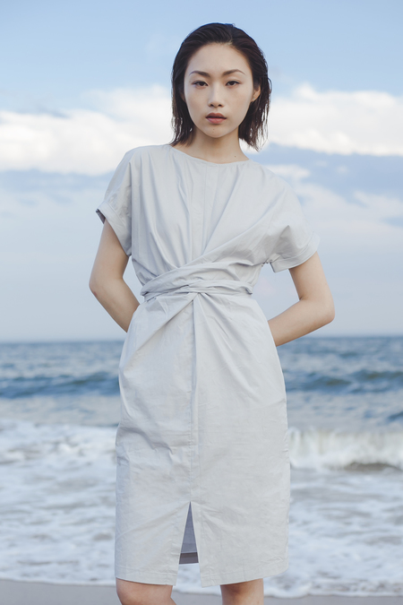 Clean Space Cross Front Cotton Dress - Light Gray