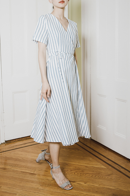 Clean Space Boohoo Stripe Wrap Midi Dress - Blue