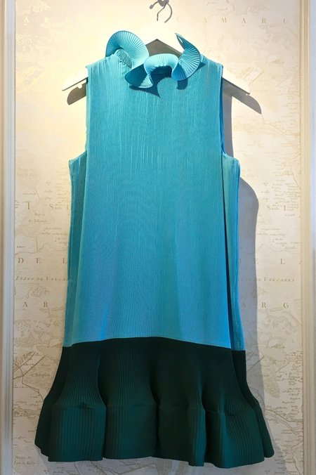 Tibi Pleat Dress - Blue/dark green