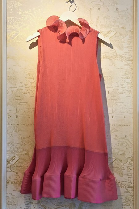 Tibi Pleat Dress - Pink/ coral