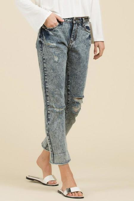 POL Acid Wash Straight Fit Jean - Mid-Blue