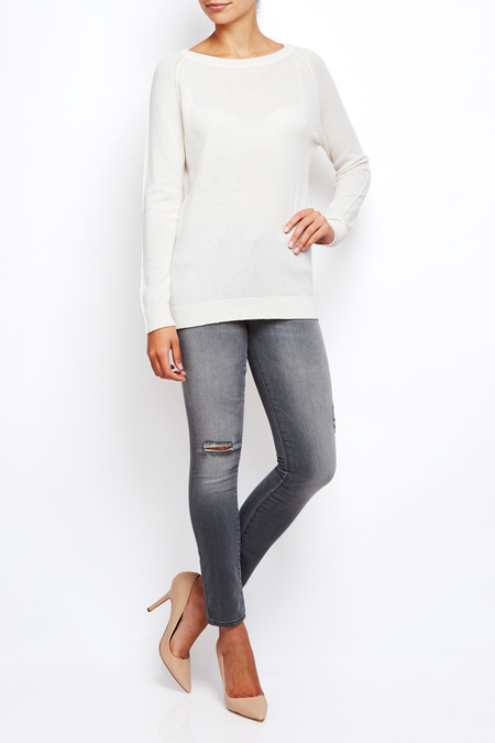 Lamberto Losani boatneck long cashmere sweater - CREAM