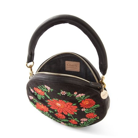 Clare V. Circle Clutch - Black Mexican Floral