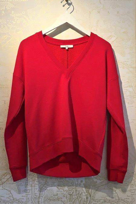 Tibi V-Neck Draped Back Sweatshirt - Red