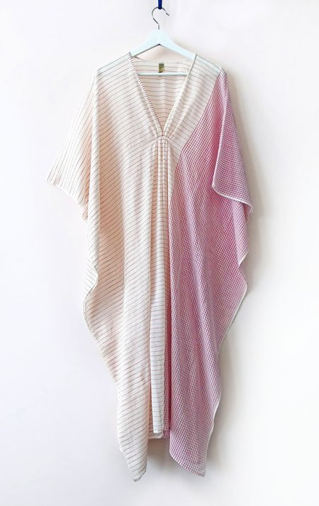 Two New York Caftan - White and Red Stripe