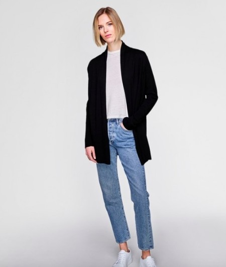 White + Warren High Rib Cardigan - Black
