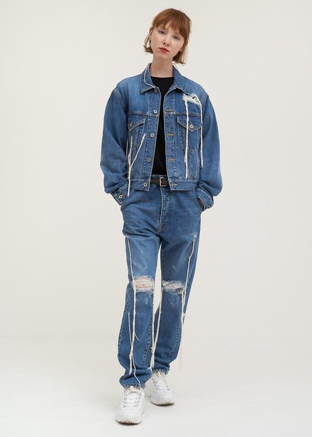 Doublet Too Much Damage Denim Pants - blue