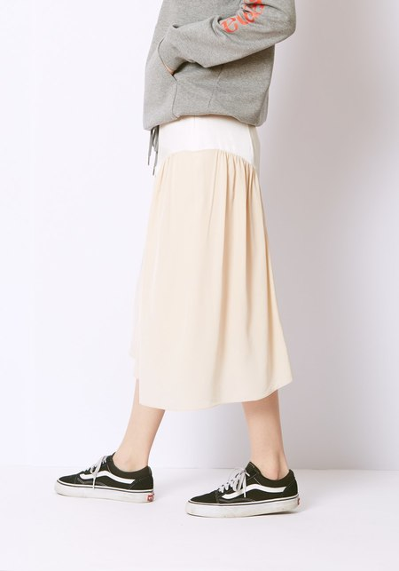 Tibi Color Block Skirt - White and Cream