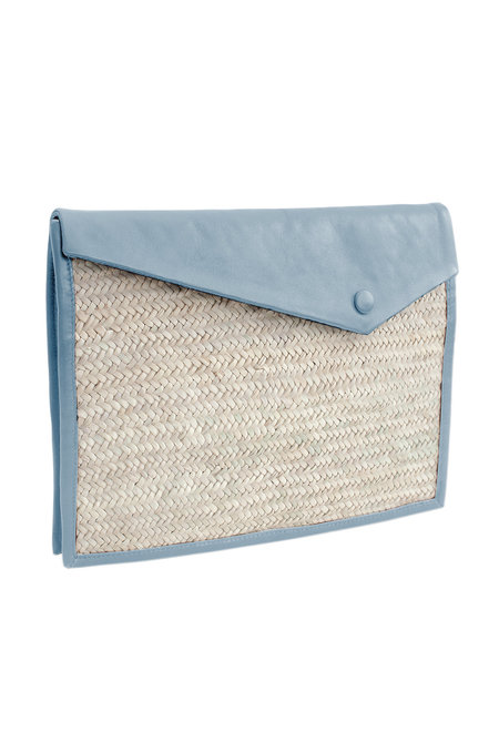 Parme Marin Straw-Ling Clutch