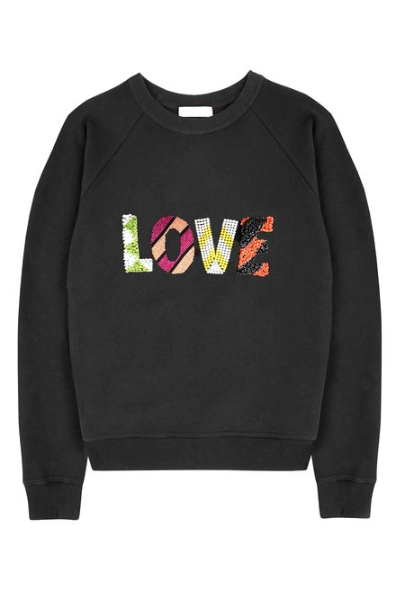 Uzma Bozai LOVE Beaded Sweatshirt - BLACK