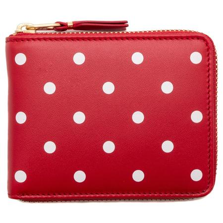 COMME des GARÇONS Full Zip Wallet Dots Printed Leather Line - Red