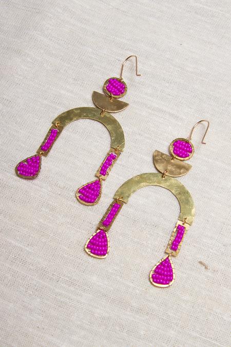 Alchemilla Temperance Earrings - Fuchsia