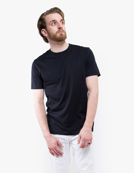 Sunspel Q82 Short Sleeve Crew Neck - black