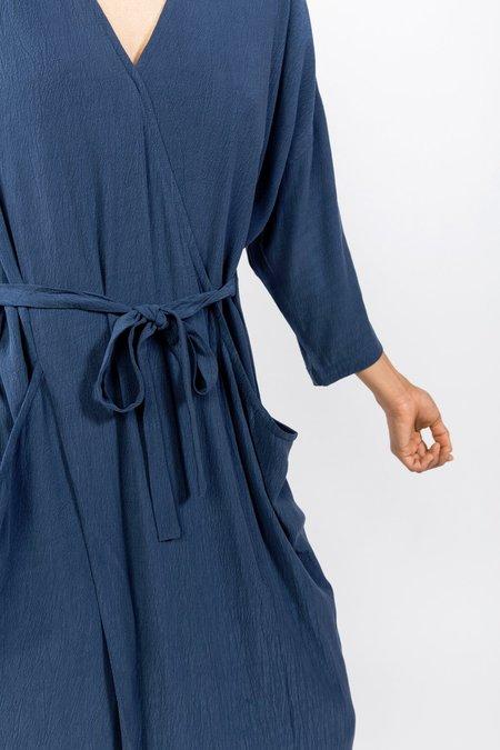 7115 by Szeki Pockets Midi Wrapdress - blue