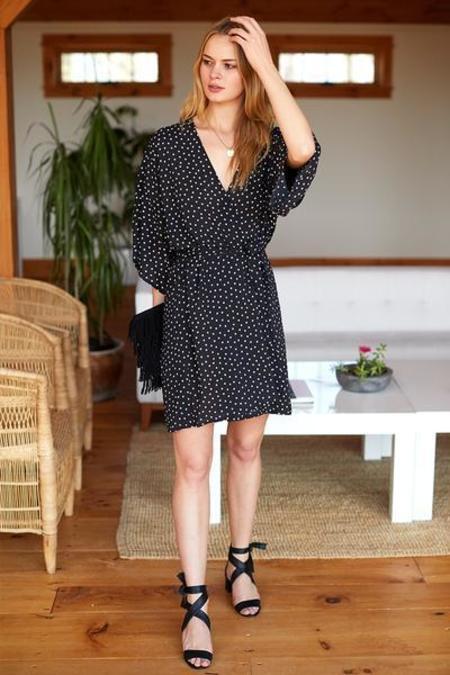 Emerson Fry Wrap Dress - Black Dot