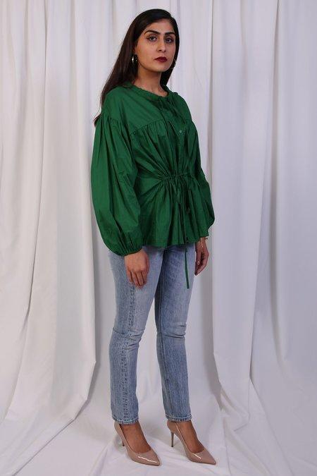 W A N T S Wrinkled Top - Dark Green