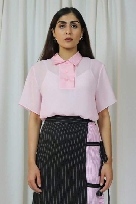 ROCKET X LUNCH Chiffon Polo Top - Pink