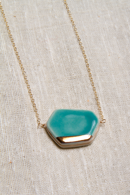 Zoe Comings Large Geo Necklace - Teal