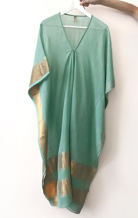 Two New York Caftan - Sage and Metallic