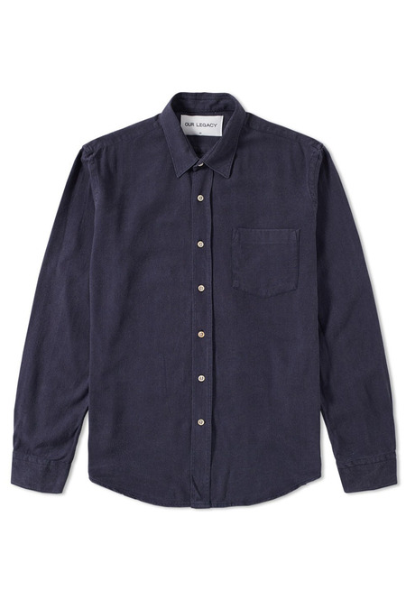 OUR LEGACY CLASSIC SILK SHIRT - navy