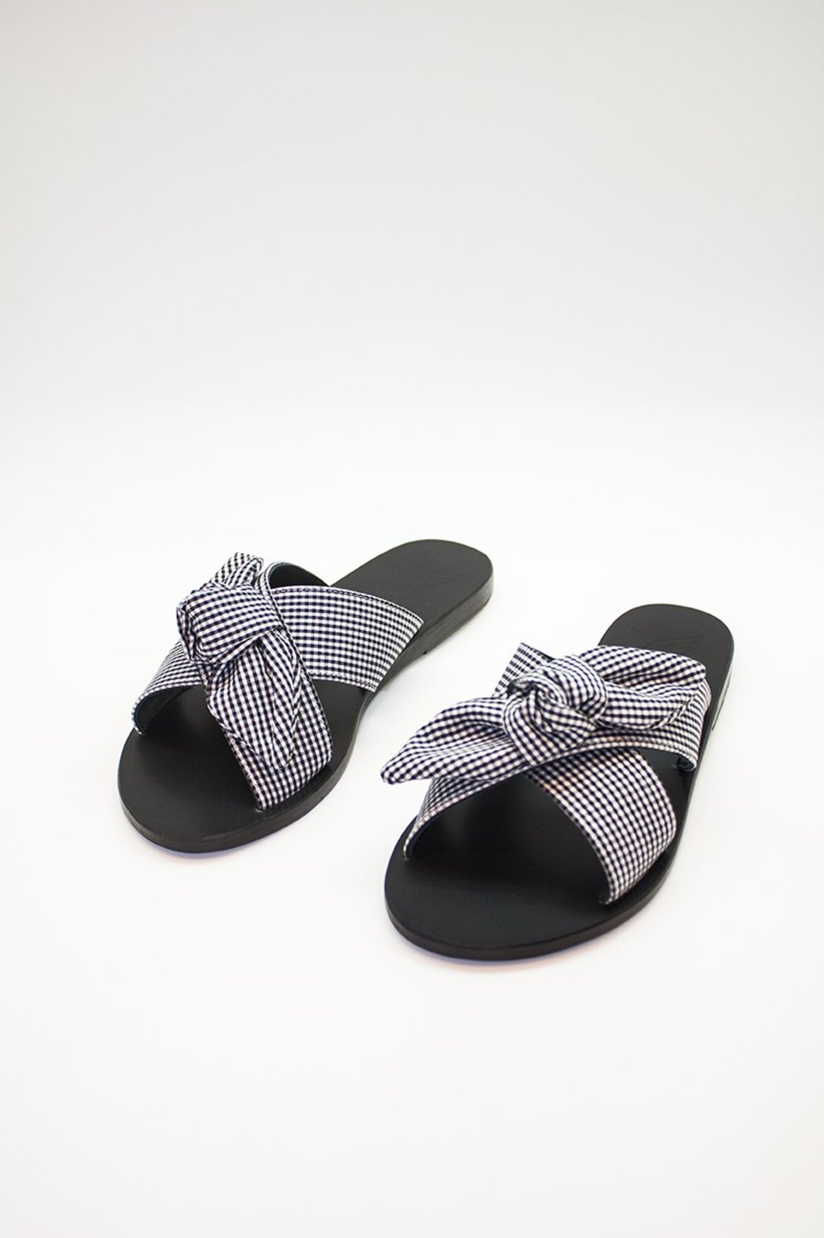 7f26647866c43 Ancient Greek Sandals Thais Bow Gingham Sandals - black/white check ...
