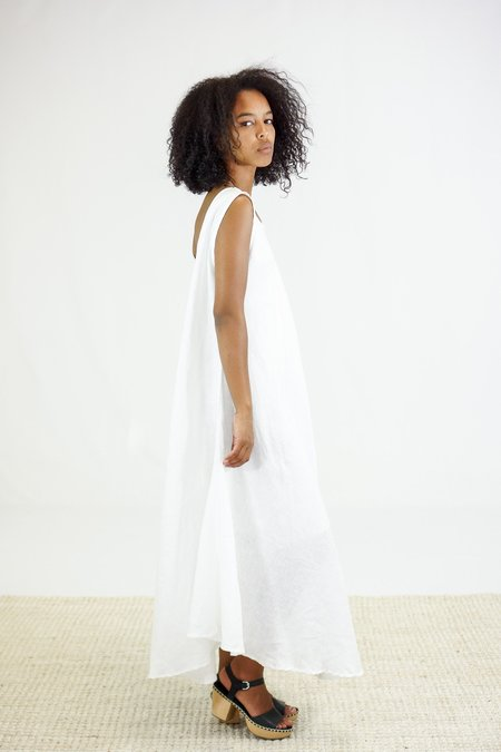 Golondrina of Mexico Ailes Linen Midi Dress - White