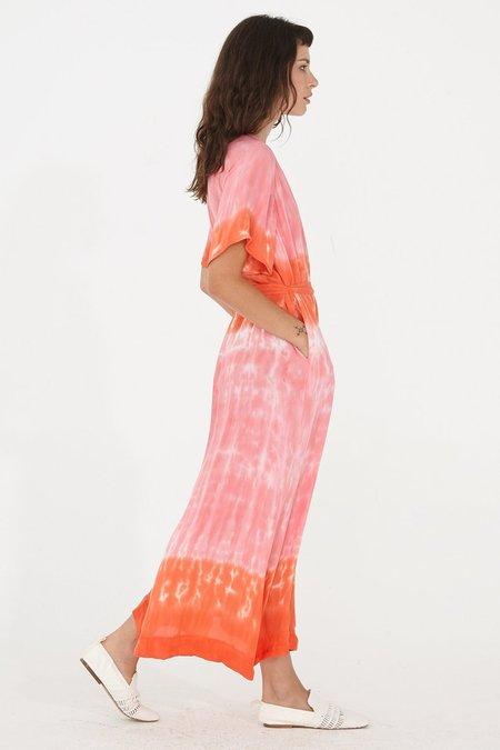 Raquel Allegra Silk Tie Dye Reversible Flutter Sleeve Dress - Grapefruit