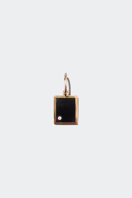 Unisex Legier Single Gold Onyx with Diamond Pendant Hoop