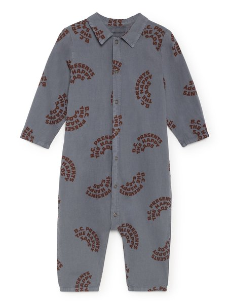 Kids Bobo Choses The Happy Sads Buttons Baby Playsuit - Grey Blue