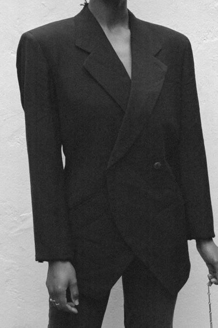 Vintage Casia Issey Miyake Wool Blazer - Black