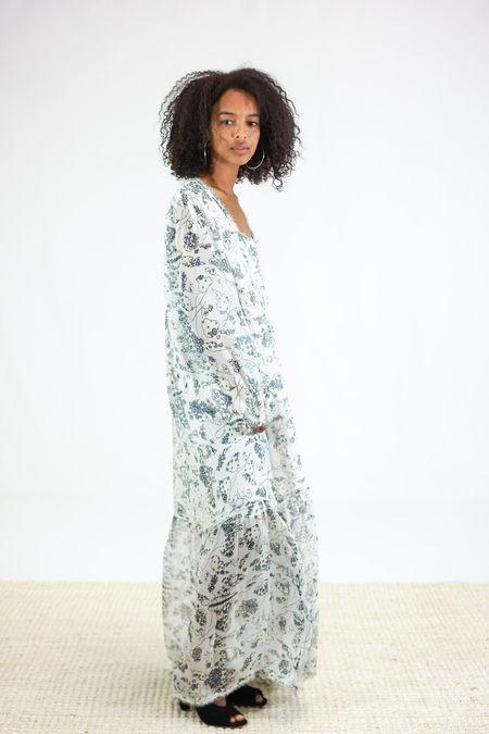 Raquel Allegra Empress Dress - Ivory Floral Bandana