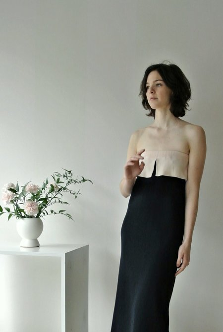 SARTORIA VICO STRAPLESS FLAP DRESS - navy/pink