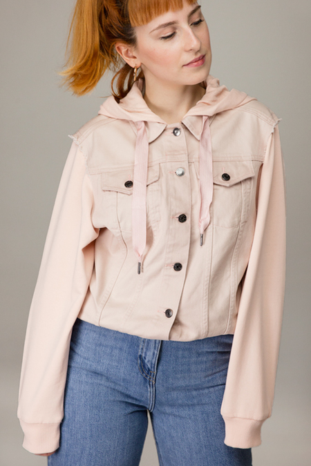 Bazaar Wear Denim Sweat Jacket - Pink
