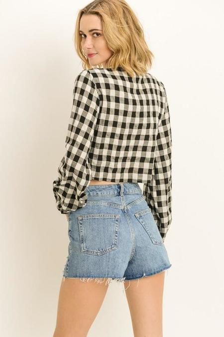 Le Lis Gingham Double Knotted Top - Black