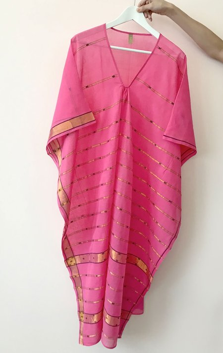 Two Caftan with Metallic Gold Lines - Pink