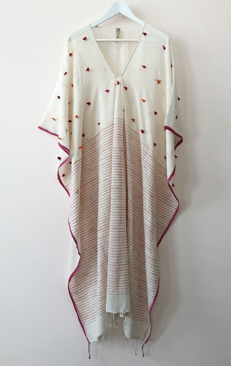Two New York Caftan - White with colorful tassels