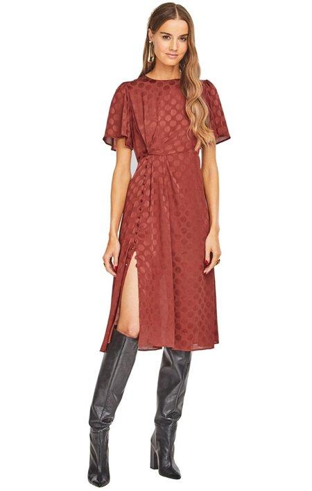 ASTR Ebony Polka Dot Midi Dress - Cinnamon