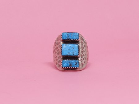 Queen City General Store Vintage Three Stone Turquoise Ring