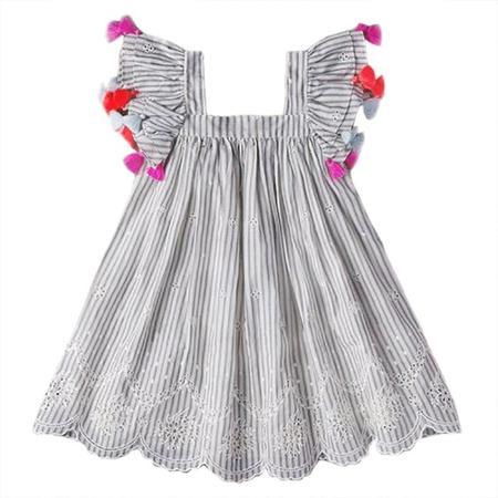 KIDS Nellystella Chloe Dress Cotton - Stripe Blue And Ecru White