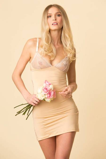 Fortnight Ivy Cut-Out Slip - Champagne/Ivory
