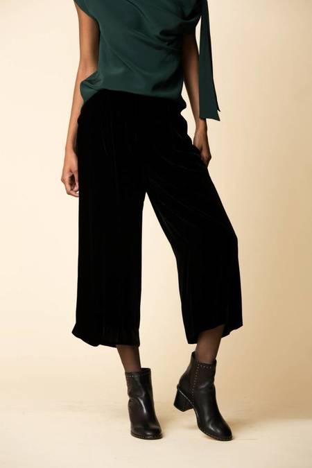 Tibi Silk Velvet Culotte - BLACK
