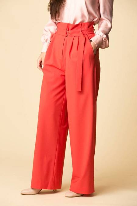Tibi Tropical Wool Stella Pleated Pants w/ Belt - RASPBERRY
