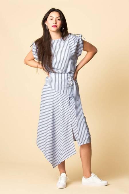 Tibi Viscose Stripe Shirting Buckle Short Sleeve - BLUE MULTI