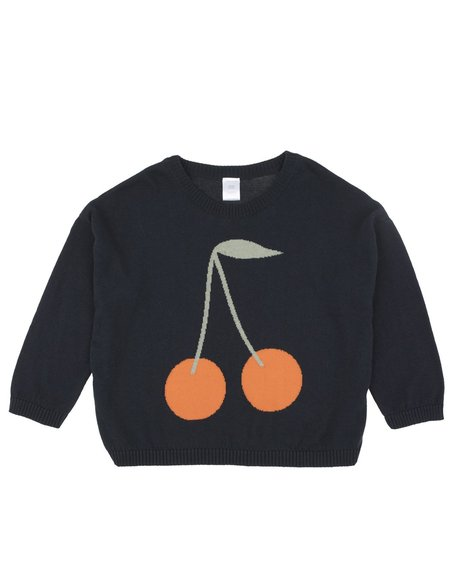 Kids Tinycottons Cherries Sweater - Navy/Red
