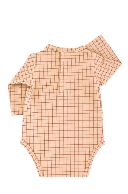 Kids Tinycottons Grid Long Sleeve Body - Nude/Brick