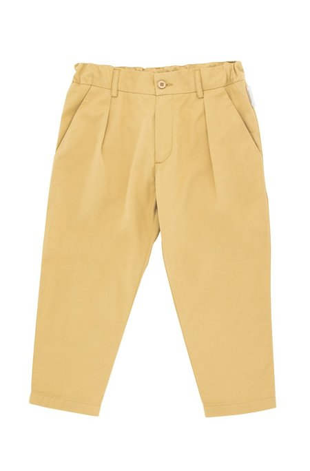 Kids Tinycottons Solid Pleated Pant - Sand